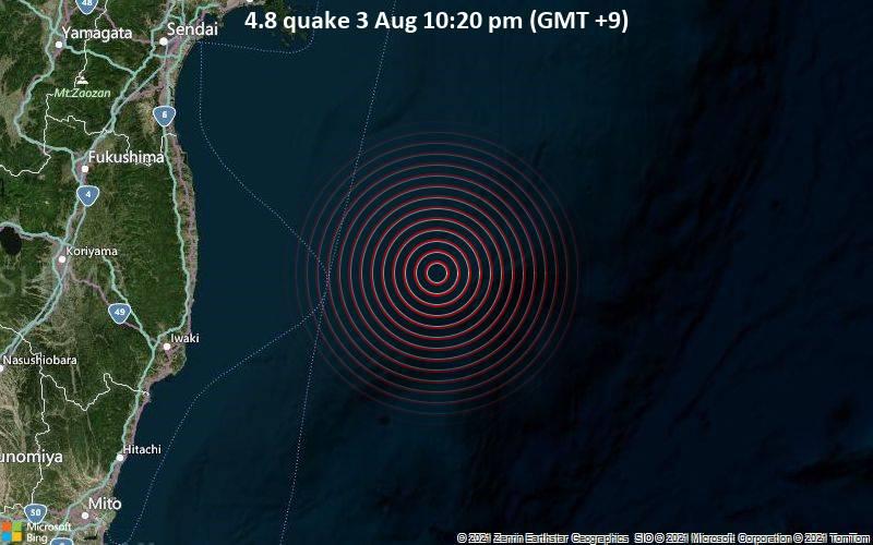 Moderates Erdbeben der Stärke 4.8 - Nordpazifik, 158 km südöstlich von Sendai, Präfektur Miyagi, Japan, am Dienstag,  3. Aug 2021 um 13:20 GMT