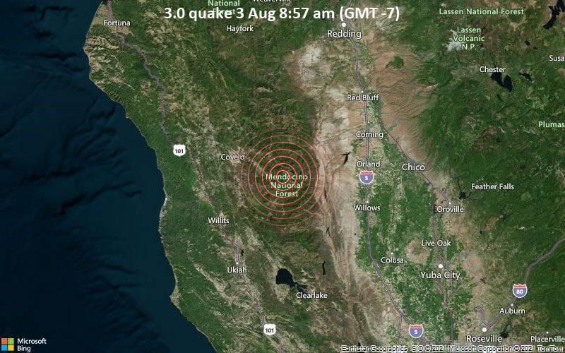 Leichtes Erdbeben der Stärke 3.0 - Glenn County, 88 km westlich von Chico, Butte County, Kalifornien, USA, am Dienstag,  3. Aug 2021 um 08:57 Lokalzeit