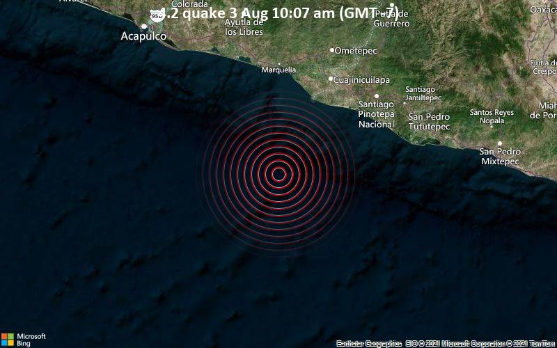 Moderates Erdbeben der Stärke 4.2 - Nordpazifik, 92 km südwestlich von Cuajinicuilapa, Guerrero, Mexiko, am Dienstag,  3. Aug 2021 um 10:07 Lokalzeit
