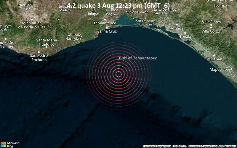 Moderates Erdbeben der Stärke 4.2 - Nordpazifik, 93 km südlich von Salina Cruz, Oaxaca, Mexiko, am Dienstag,  3. Aug 2021 um 12:23 Lokalzeit