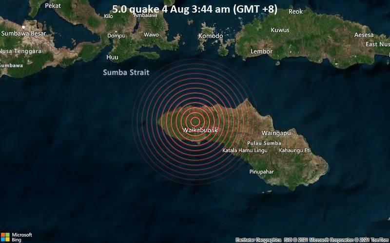 5.0 quake 4 Aug 3:44 am (GMT +8)