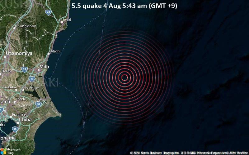 5.5 quake 4 Aug 5:43 am (GMT +9)