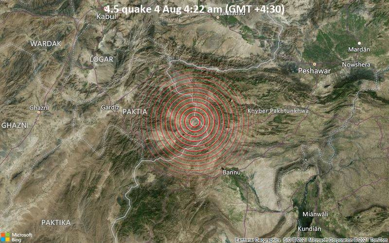 4.5 quake 4 Aug 4:22 am (GMT +4:30)