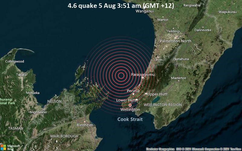 Moderates Erdbeben der Stärke 4.6 - Tasman Sea, 48 km nördlich von Wellington, Neuseeland, am Mittwoch,  4. Aug 2021 um 15:51 GMT