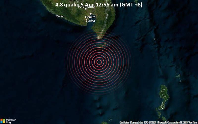 Moderates Erdbeben der Stärke 4.8 - Celebes Sea, 88 km südlich von Glan, Philippinen, am Mittwoch,  4. Aug 2021 um 16:56 GMT