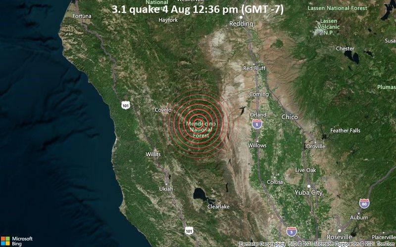 Leichtes Erdbeben der Stärke 3.1 - Glenn County, 88 km westlich von Chico, Butte County, Kalifornien, USA, am Mittwoch,  4. Aug 2021 um 12:36 Lokalzeit