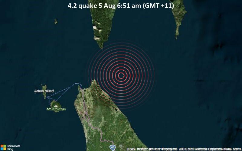 Leichtes Erdbeben der Stärke 4.2 - Sea of Okhotsk, 61 km östlich von Wakkanai, Hokkaido, Japan, am Donnerstag,  5. Aug 2021 um 06:51 Lokalzeit