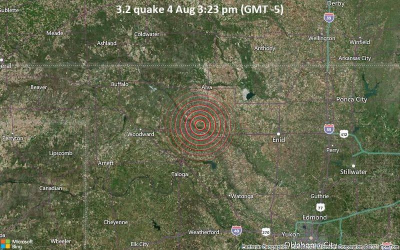 Leichtes Erdbeben der Stärke 3.2 - Woods County, 78 km westlich von Enid, Garfield County, Oklahoma, USA, am Mittwoch,  4. Aug 2021 um 15:23 Lokalzeit