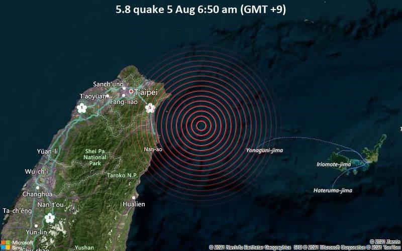 Starkes Magnitude 5.8 Erdbeben - Philippines Sea, 89 km südöstlich von Taipeh, Taipei City, Taiwan, am Donnerstag,  5. Aug 2021 um 06:50 Lokalzeit