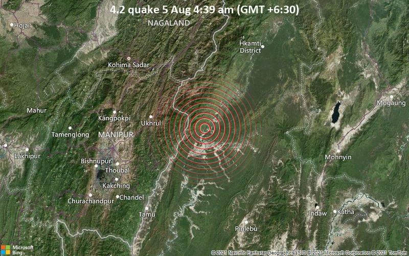 Moderates Erdbeben der Stärke 4.2 - Hkamti District, Myanmar, 85 km südöstlich von Phek, Indien, am Donnerstag,  5. Aug 2021 um 04:39 Lokalzeit