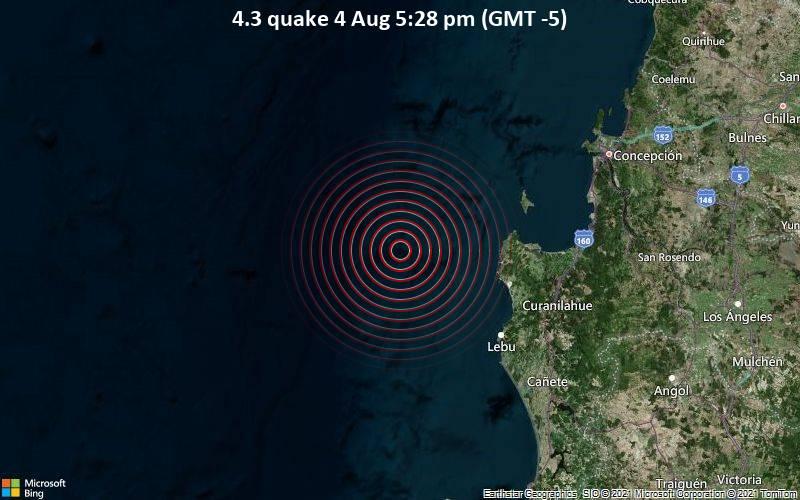 Moderates Erdbeben der Stärke 4.3 - South Pacific Ocean, 65 km nordwestlich von Lebu, Provincia de Arauco, Region del Biobio, Chile, am Mittwoch,  4. Aug 2021 um 17:28 Lokalzeit