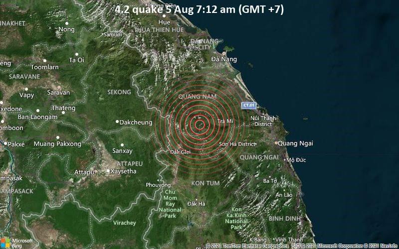 Moderates Erdbeben der Stärke 4.2 - 63 km südwestlich von Tam Kỳ, Tỉnh Quảng Nam, Vietnam, am Donnerstag,  5. Aug 2021 um 07:12 Lokalzeit