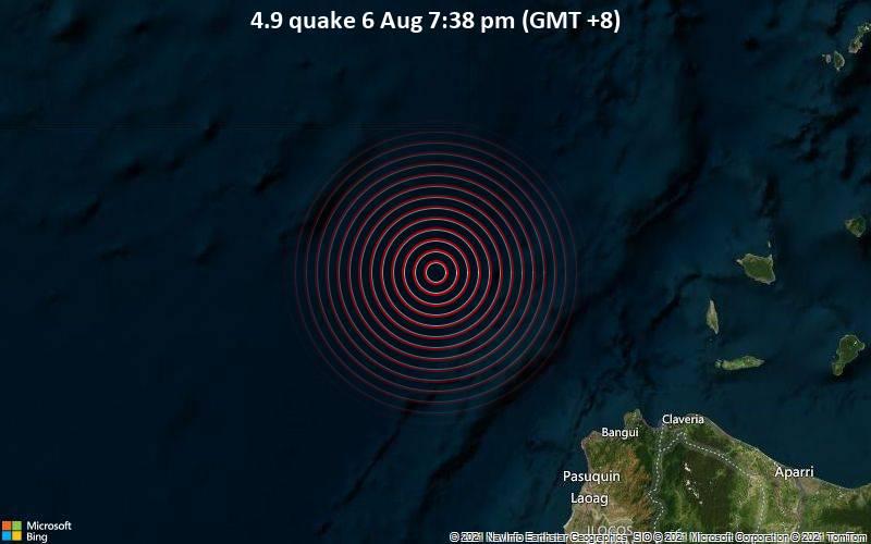 4.9 quake 6 Aug 7:38 pm (GMT +8)