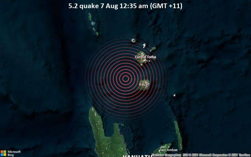5.2 quake 7 Aug 12:35 am (GMT +11)