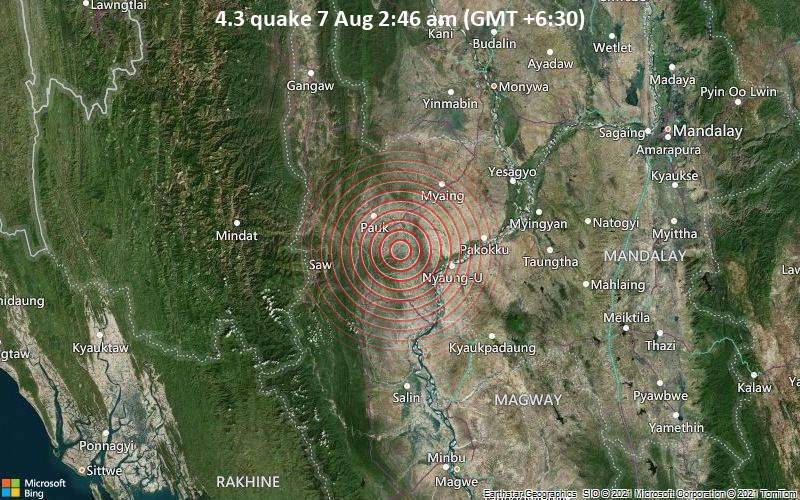 4.3 quake 7 Aug 2:46 am (GMT +6:30)