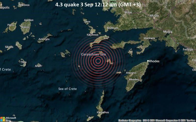 Moderates Erdbeben der Stärke 4.3 - Ägäisches Meer, 53 km südlich von Kos, Griechenland, am Freitag,  3. Sep 2021 um 00:12 Lokalzeit