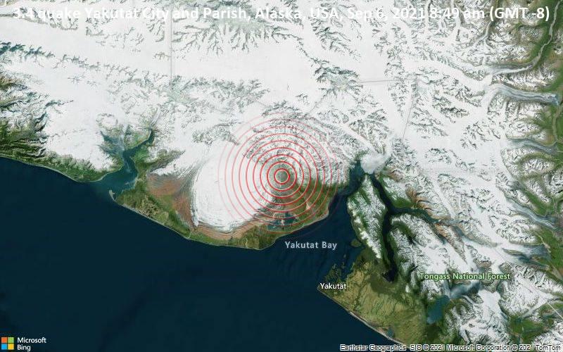 3.4 quake Yakutat City and Parish, Alaska, USA, Sep 6, 2021 8:49 am (GMT -8)