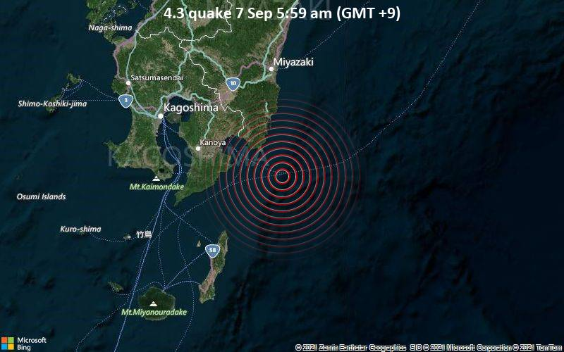 4.3 quake 7 Sep 5:59 am (GMT +9)