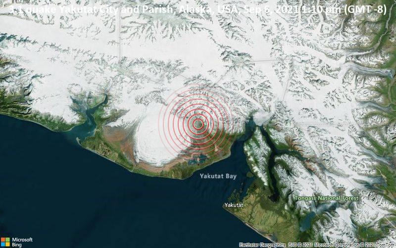 3.1 quake Yakutat City and Parish, Alaska, USA, Sep 6, 2021 1:10 pm (GMT -8)