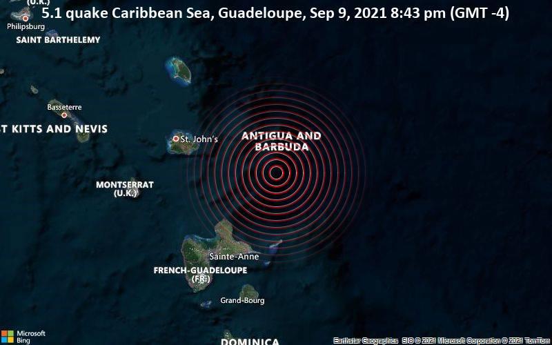 5.1 quake Caribbean Sea, Guadeloupe, Sep 9, 2021 8:43 pm (GMT -4)