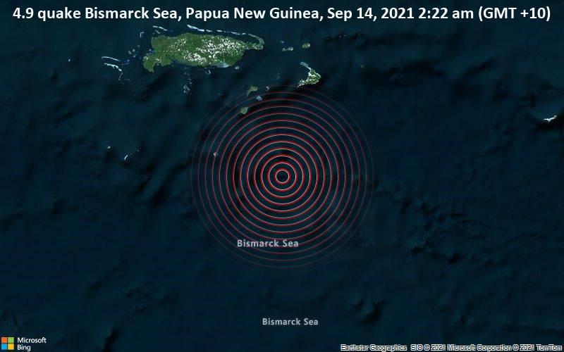 4.9 quake Bismarck Sea, Papua New Guinea, Sep 14, 2021 2:22 am (GMT +10)