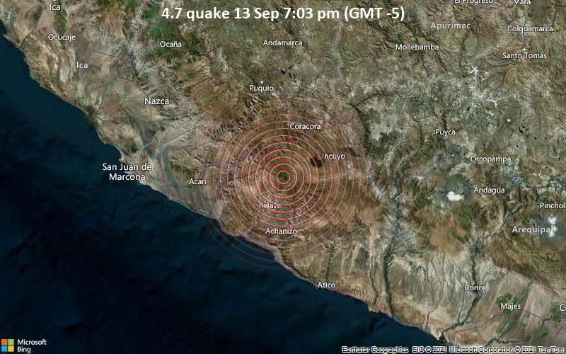 4.7 quake 13 Sep 7:03 pm (GMT -5)