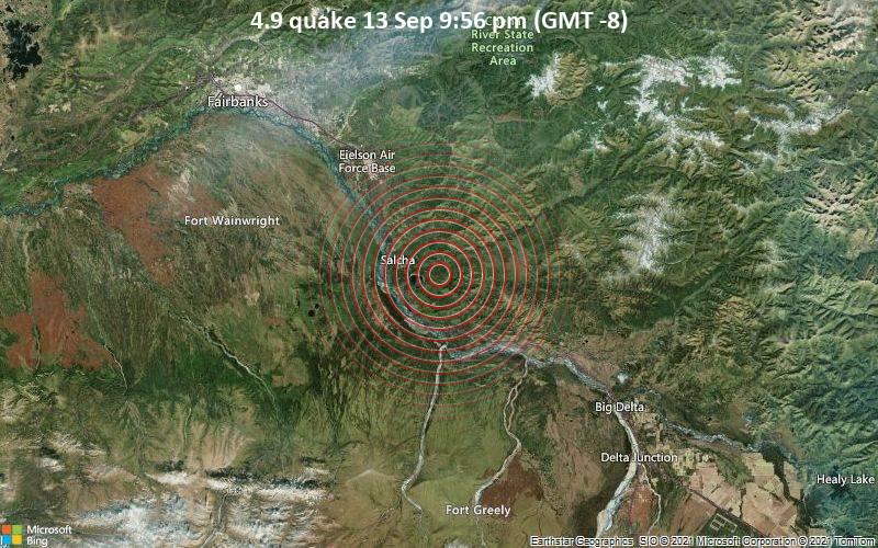 4.9 quake 13 Sep 9:56 pm (GMT -8)