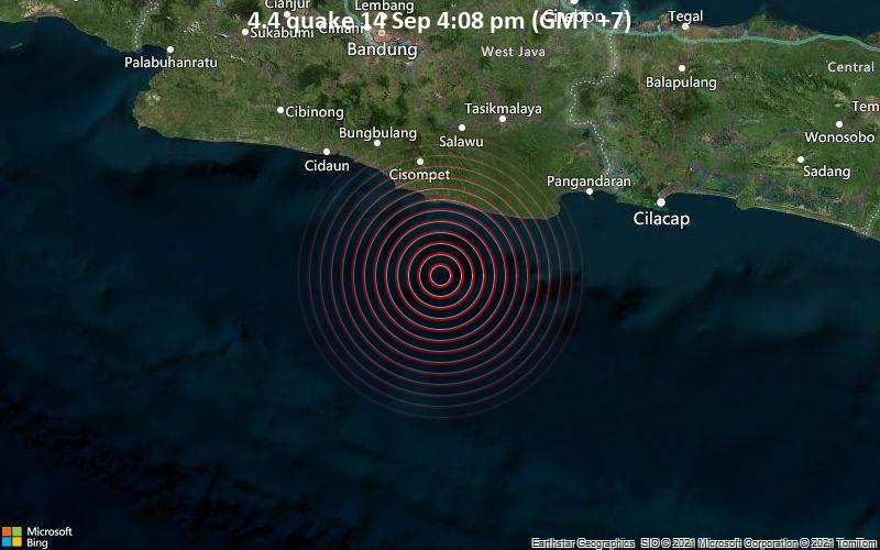 Moderates Erdbeben der Stärke 4.4 - Indischer Ozean, 93 km südlich von Tasikmalaya, Westjava, Indonesien, am Dienstag, 14. Sep 2021 um 16:08 Lokalzeit