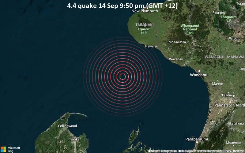 Leichtes Erdbeben der Stärke 4.4 - Tasman Sea, 170 km nordwestlich von Wellington, Neuseeland, am Dienstag, 14. Sep 2021 um 21:50 Lokalzeit