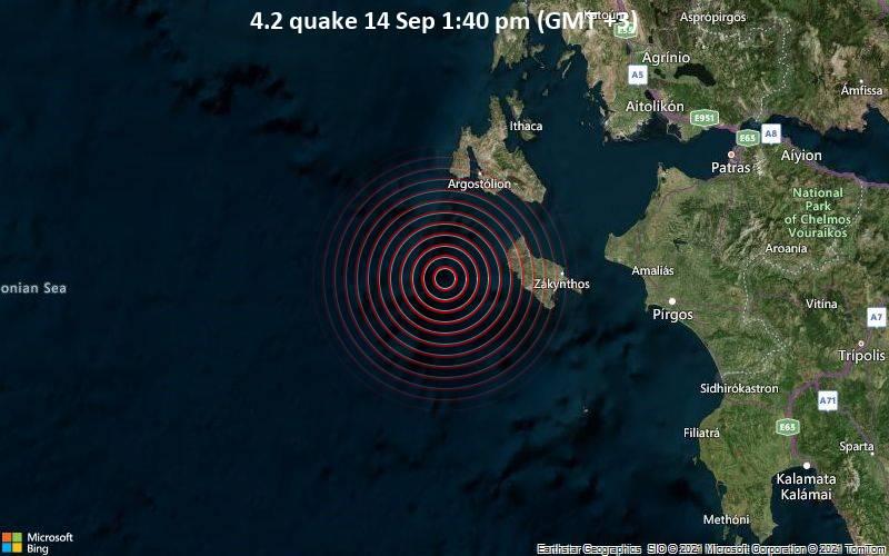 Moderates Erdbeben der Stärke 4.2 - Ionian Sea, 49 km südlich von Argostoli, Griechenland, am Dienstag, 14. Sep 2021 um 13:40 Lokalzeit