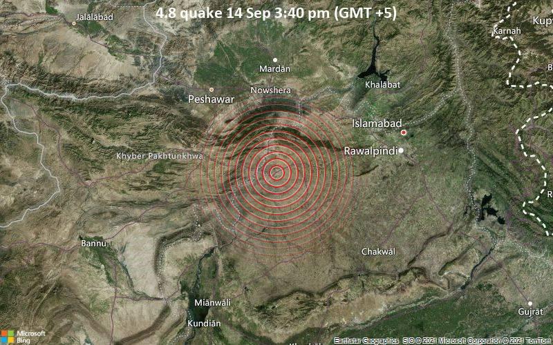 Leichtes Erdbeben der Stärke 4.8 - 4.2 km nordöstlich von Jand, Attock District, Punjab, Pakistan, am Dienstag, 14. Sep 2021 um 15:40 Lokalzeit