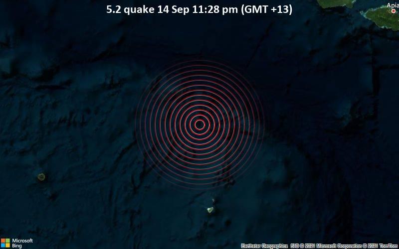 Moderates Erdbeben der Stärke 5.2 - South Pacific Ocean, Tonga, 266 km südwestlich von Apia, Tuamasaga, Samoa, am Dienstag, 14. Sep 2021 um 23:28 Lokalzeit