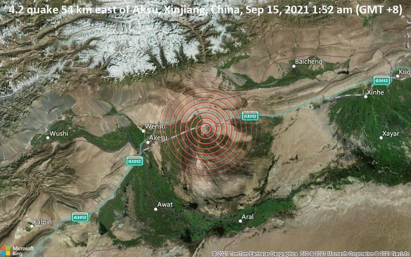 4.2 quake 54 km east of Aksu, Xinjiang, China, Sep 15, 2021 1:52 am (GMT +8)
