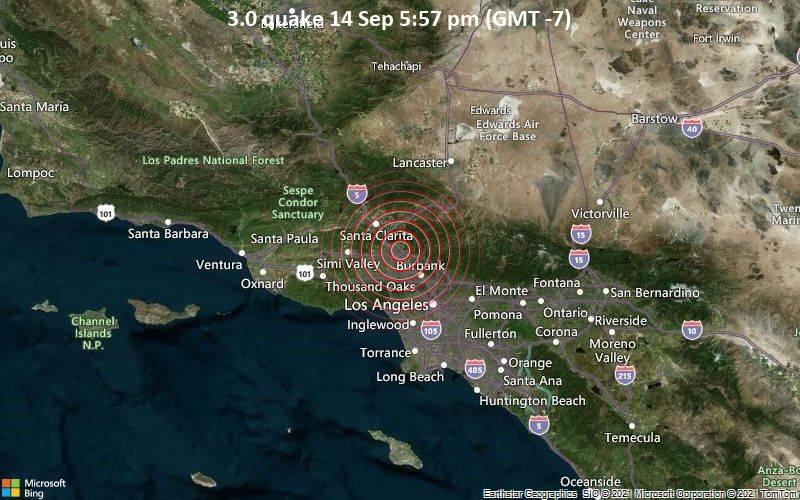 Leichtes Erdbeben der Stärke 3.0 - 12 km nördlich von Van Nuys, Los Angeles County, Kalifornien, USA, am Dienstag, 14. Sep 2021 um 17:57 Lokalzeit