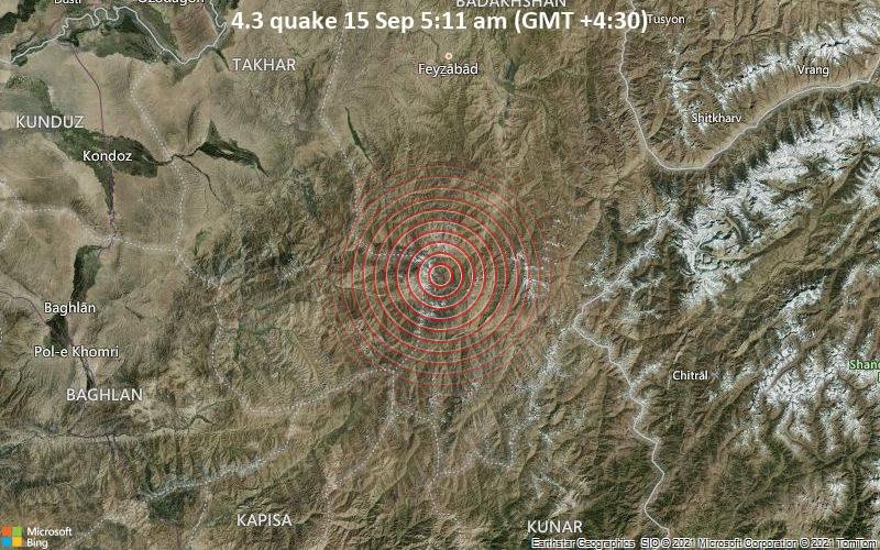 Leichtes Erdbeben der Stärke 4.3 - Yamgān, 96 km südlich von Faizabad, Faīẕābād, Badakhshan, Afghanistan, am Mittwoch, 15. Sep 2021 um 05:11 Lokalzeit