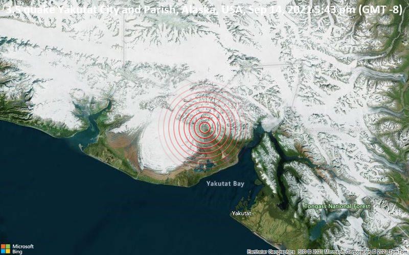 Leichtes Erdbeben der Stärke 3.5 - Yakutat City and Parish, Alaska, USA, am Dienstag, 14. Sep 2021 um 17:43 Lokalzeit