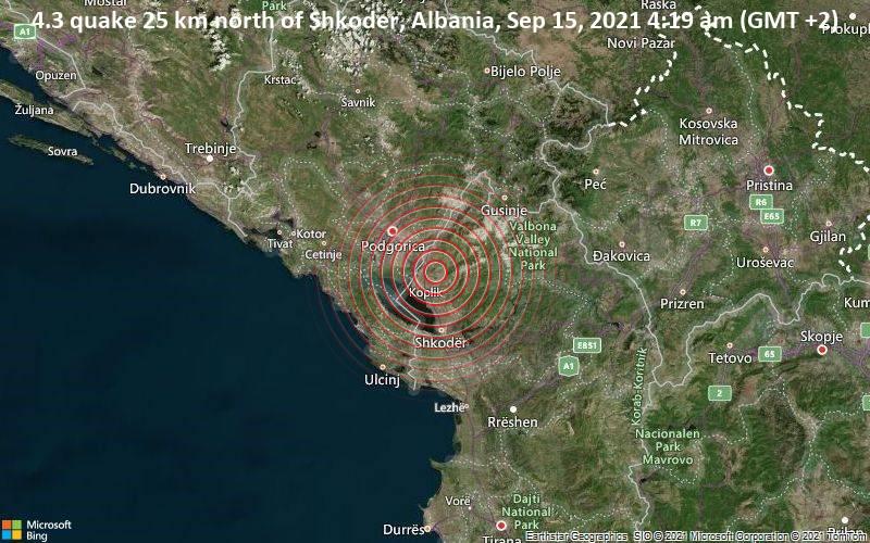 Moderates Erdbeben der Stärke 4.3 - 25 km nördlich von Shkodra, Shkoder, Albanien, am Mittwoch, 15. Sep 2021 um 04:19 Lokalzeit