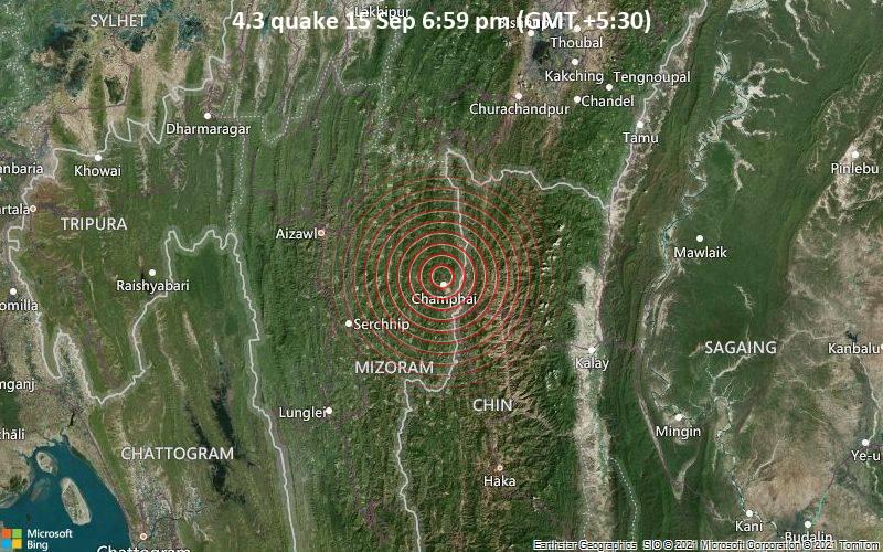 4.3 quake 15 Sep 6:59 pm (GMT +5:30)