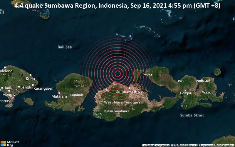 4.4 quake Sumbawa Region, Indonesia, Sep 16, 2021 4:55 pm (GMT +8)
