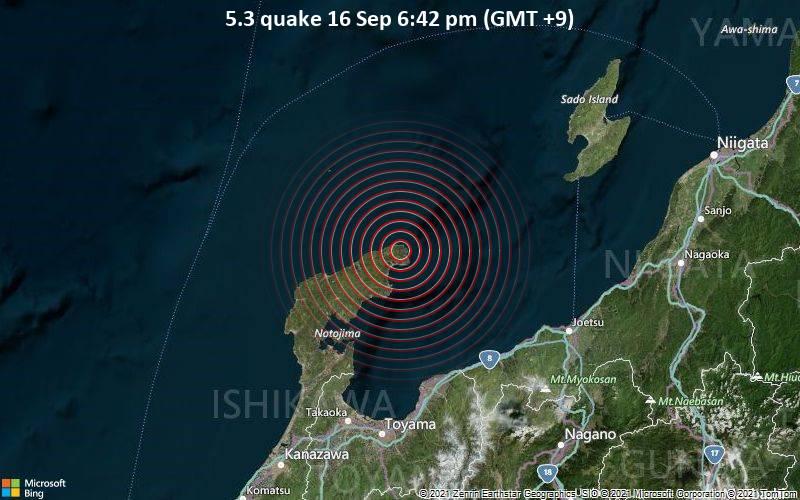 5.3 quake 16 Sep 6:42 pm (GMT +9)