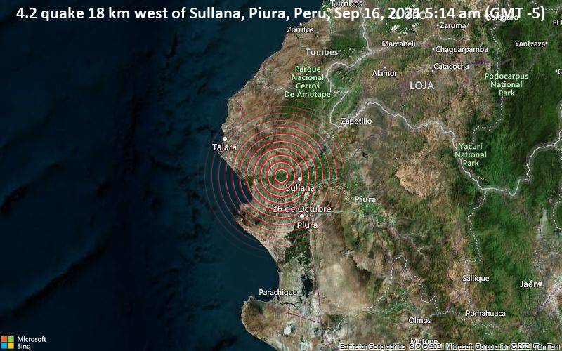 4.2 quake 18 km west of Sullana, Piura, Peru, Sep 16, 2021 5:14 am (GMT -5)