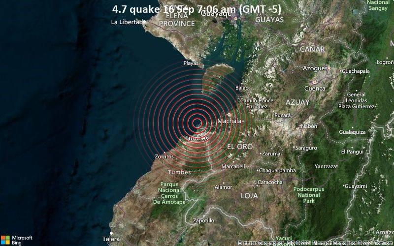 Moderates Erdbeben der Stärke 4.7 - South Pacific Ocean, 41 km westlich von Machala, Provincia de El Oro, Ecuador, am Donnerstag, 16. Sep 2021 um 07:06 Lokalzeit