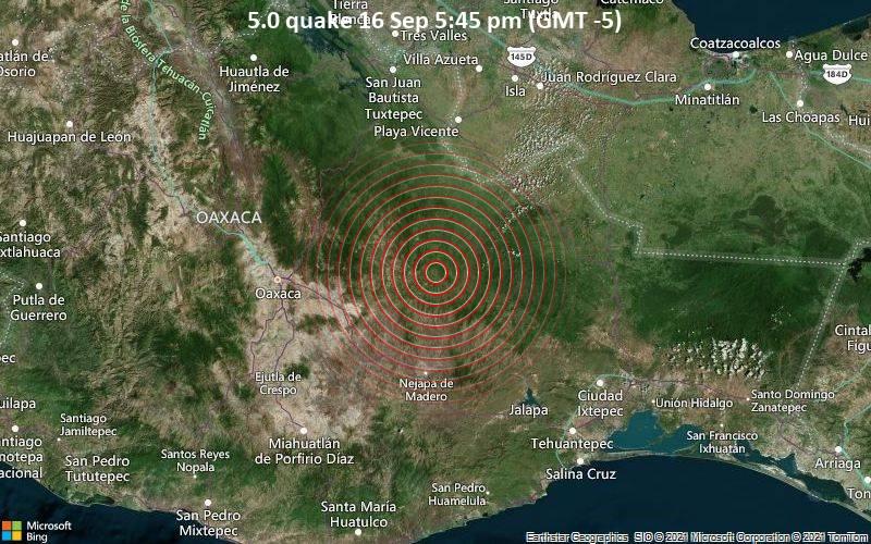 5.0 quake 16 Sep 5:45 pm (GMT -5)