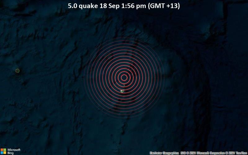 5.0 quake 18 Sep 1:56 pm (GMT +13)
