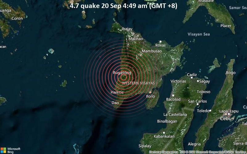 Moderates Erdbeben der Stärke 4.7 - Province of Antique, 60 km nordwestlich von Iloilo City, Philippinen, am Montag, 20. Sep 2021 um 04:49 Lokalzeit