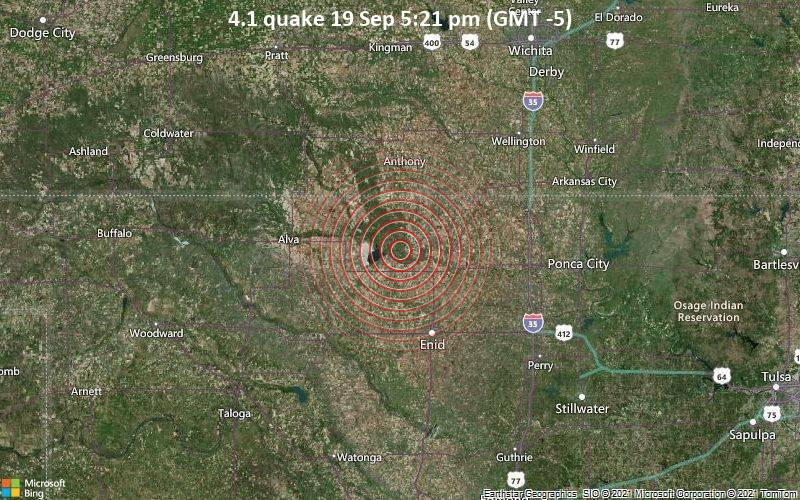 Moderates Erdbeben der Stärke 4.1 - Grant County, 44 km nördlich von Enid, Garfield County, Oklahoma, USA, am Sonntag, 19. Sep 2021 um 17:21 Lokalzeit