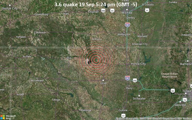 Moderates Erdbeben der Stärke 3.6 - Grant County, 44 km nördlich von Enid, Garfield County, Oklahoma, USA, am Sonntag, 19. Sep 2021 um 17:24 Lokalzeit