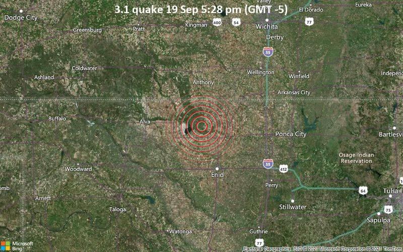Leichtes Erdbeben der Stärke 3.1 - Grant County, 45 km nördlich von Enid, Garfield County, Oklahoma, USA, am Sonntag, 19. Sep 2021 um 17:28 Lokalzeit