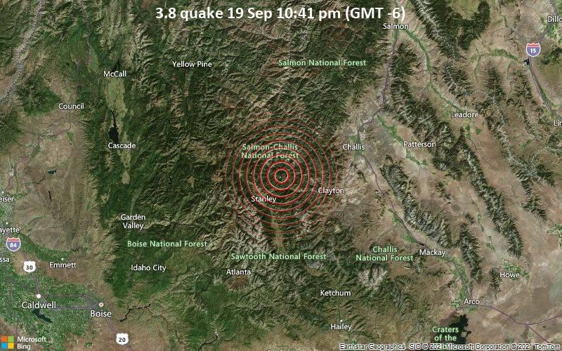 Leichtes Erdbeben der Stärke 3.8 - 48 km westlich von Garden City, Custer County, Idaho, USA, am Sonntag, 19. Sep 2021 um 22:41 Lokalzeit