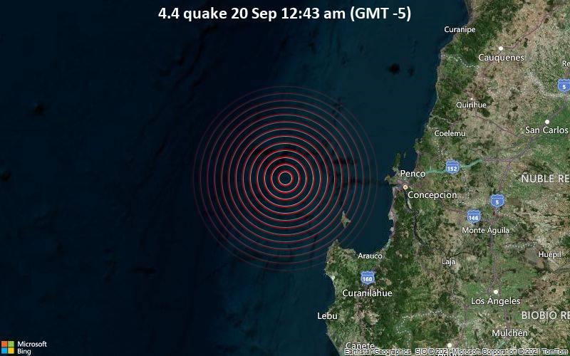 Leichtes Erdbeben der Stärke 4.4 - South Pacific Ocean, 83 km westlich von Concepción, Provincia de Concepcion, Region del Biobio, Chile, am Montag, 20. Sep 2021 um 00:43 Lokalzeit